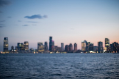 Blurred view of city during twilight