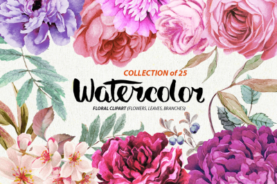 Romantic Blooms-Watercolor Clip Art