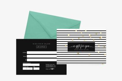 Nina Gold Gift Certificate Template