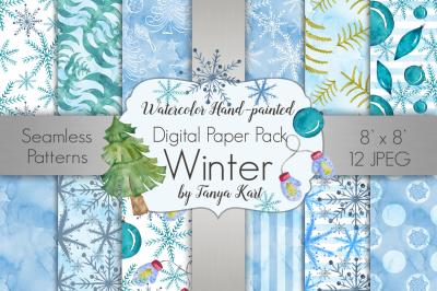 Winter Watercolor Digital Paper Pack