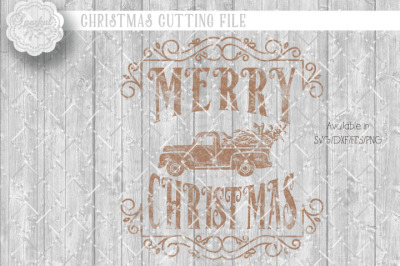 Vintage Merry Christmas ~ Cutting Design