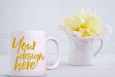 Pretty floral styled mug mockup