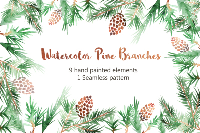 Watercolor Pine Branches Set