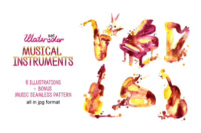 Watercolor musical instruments