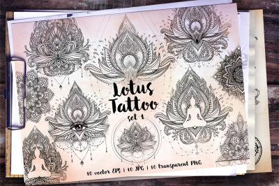 Lotus. Tattoo Design Set. Vol.1