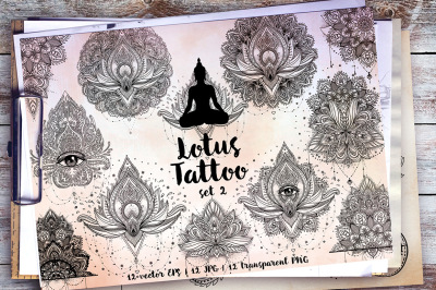 Lotus. Tattoo Design Set. Vol.2