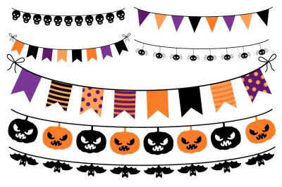 Halloween Bunting, Halloween Banners Clipart, Buntings, Banner