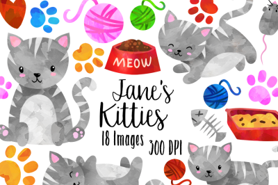 Watercolor Grey Cats Clipart