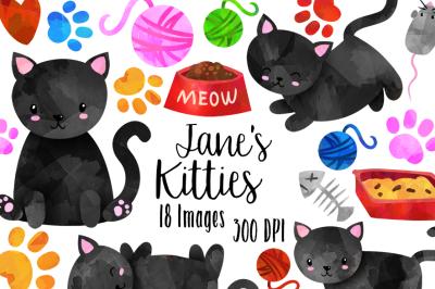 Watercolor Black Cats Clipart