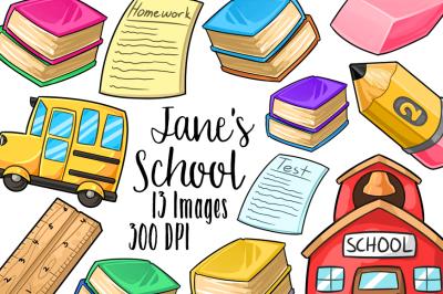Kawaii School Supplies Clipart