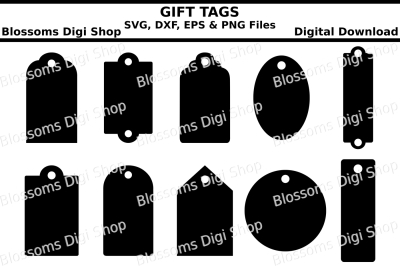Gift tag bundle SVG, EPS, DXF and PNG cut files