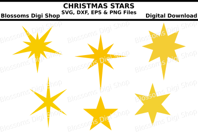Christmas stars,  SVG, EPS, DXF and PNG cut files