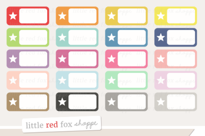 Star Rectangle Label Clipart