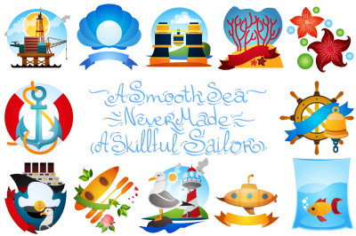 Marine big set of clipart