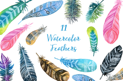 Watercolor Boho Feathers clipart set