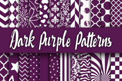 Dark Purple Patterns Digital Paper