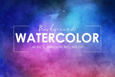 50%OFF*48 Watercolor Backgrounds