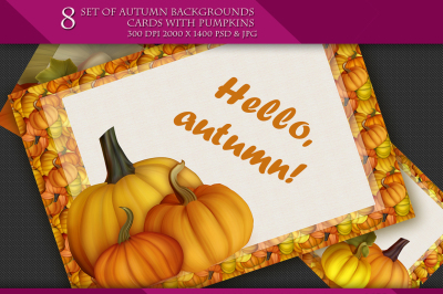 Set of Autumn Backgrounds Cards with Pumpkins