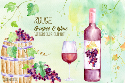 Watercolor Rouge Grapes and Wine