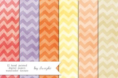 Watercolor Paper set, Chevron pattern