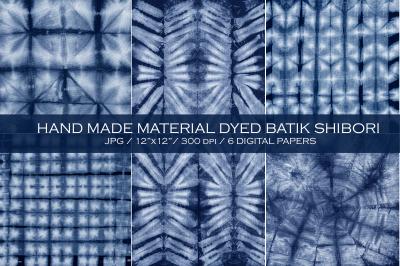 Material dyed batik. Indigo. Shibori