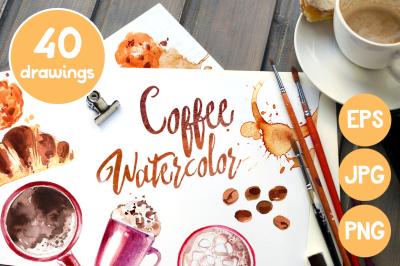Coffee. Watercolors