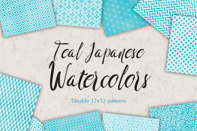 Teal watercolor patterns Digital Scrapbook sheets