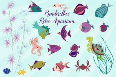 Retro Aquarium (Editable Vector Files)