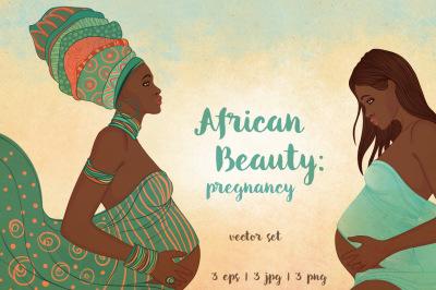African Beauty: Pregnancy. 3 vectors