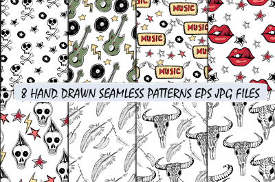 Hand drawn seamless patterns. Skulls