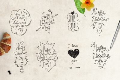 Happy Valentine's day hand drawn concepts