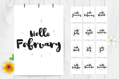 Hello + MONTH. Cards with 12 months.