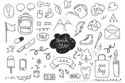 Doodles set. Hand drawn elements