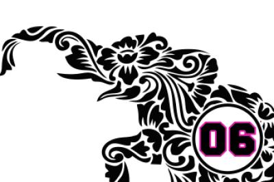 Floral Monogram Elephant