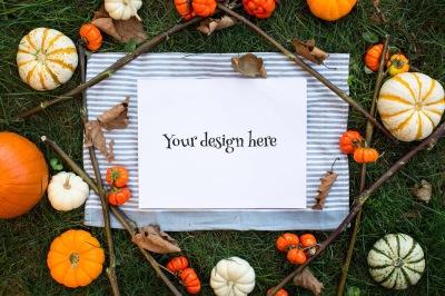 Autumn pumpkins mockup