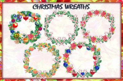 5 Watercolor Christmas Wreaths.