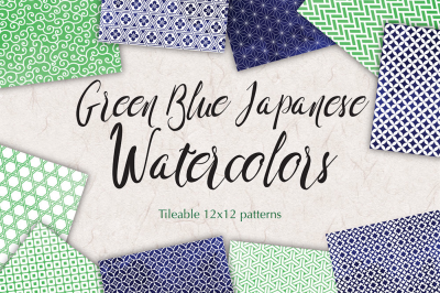 Watercolor Digital Paper in Navy Blue and Green Japanese Background