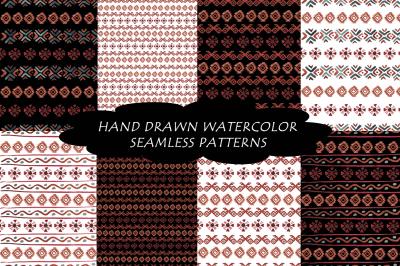 Watercolor boho seamless patterns.