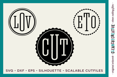 Circle Monogram Font - SVG DXF EPS - Modern Fashion Style - for Cricut and Silhouette Cameo - clean cutting digital files