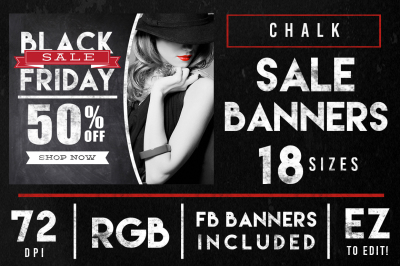 Chalk Black Friday Sales Banner Ads