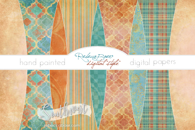 Hand Painted Digital Papers | Southwest
