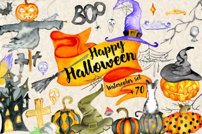 Happy Halloween Watercolor Bundle