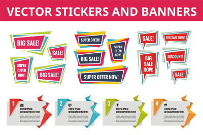 Sale Stickers and Business Banners - Vector Set
