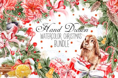 HandDawn Watercolor Christmas BUNDLE
