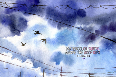 Watercolor birds above the rooftops