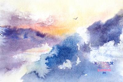 Watercolor sunrise.