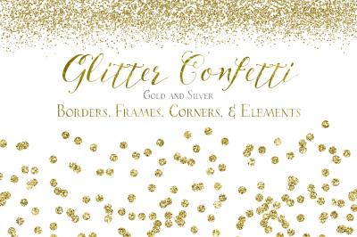 Glitter Confetti Borders & Elements