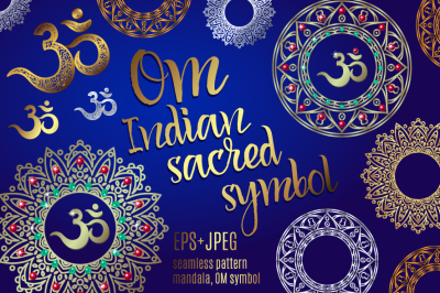 Om or Aum Indian sacred sound, original mantra, a word of power. The symbol of the divine triad of Brahma, Vishnu and Shiva.