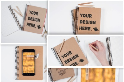 Set from 5 Artist table mockups