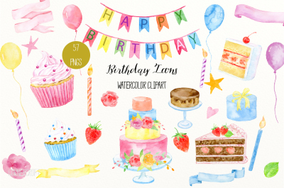 Watercolor Birthday Icons